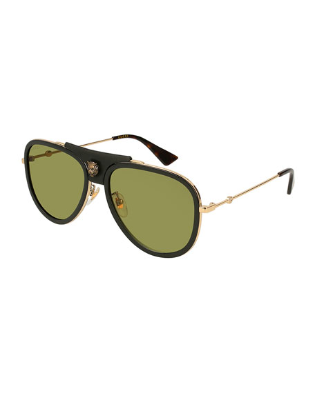Gucci Enamel Web Metal Aviator Sunglasses