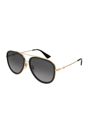 Gucci Polarized Rimmed Metal Pilot Sunglasses