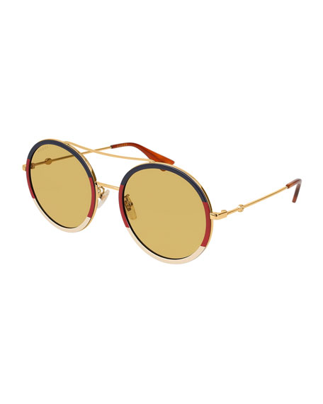 Gucci Round Tricolor Metal Sunglasses