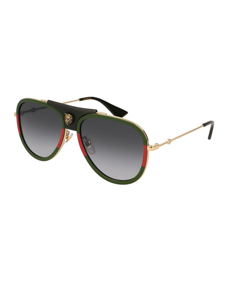 Gucci Enamel Metal Aviator Sunglasses
