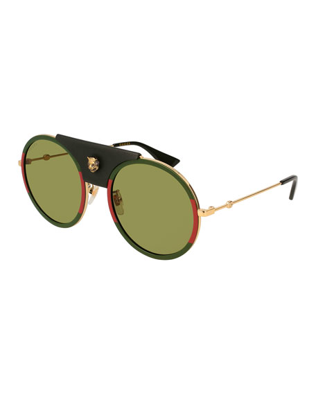 Gucci Round Metal Sunglasses with Removable Black Leather
