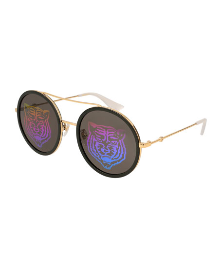 Tiger Multicolor Round Sunglasses