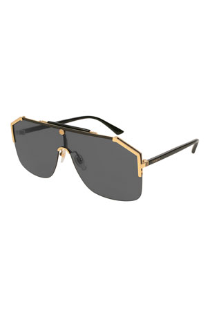 Gucci Geometric Metal Shield Sunglasses
