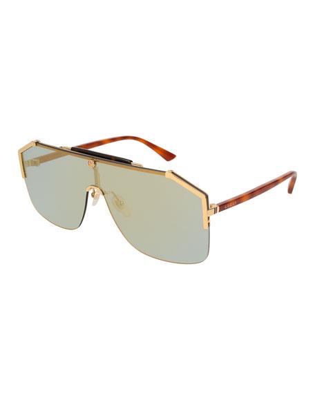 Geometric Metal Shield Sunglasses