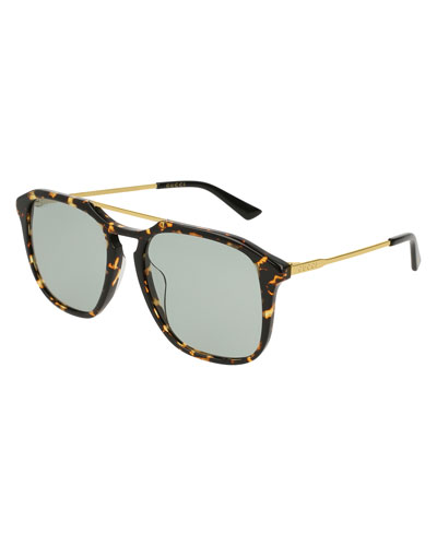 Square Acetate Pilot Sunglasses