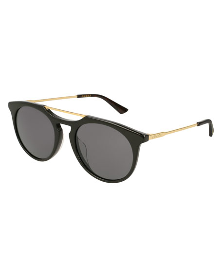 Round Acetate Pilot Sunglasses, Black