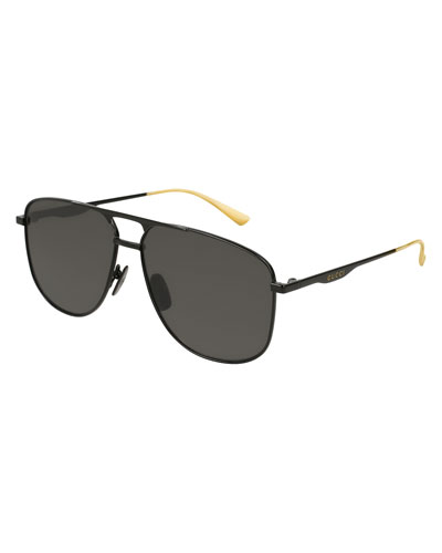 Square Metal Aviator Sunglasses, Black