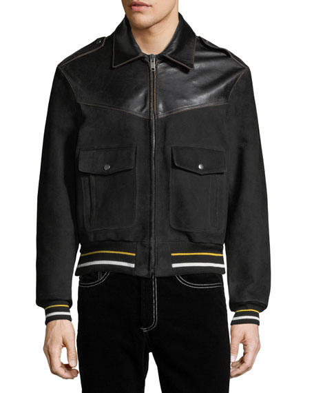 Smooth Leather & Suede Bomber Jacket