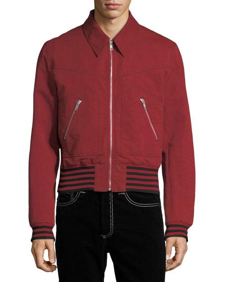 Linen-Blend Bomber Jacket