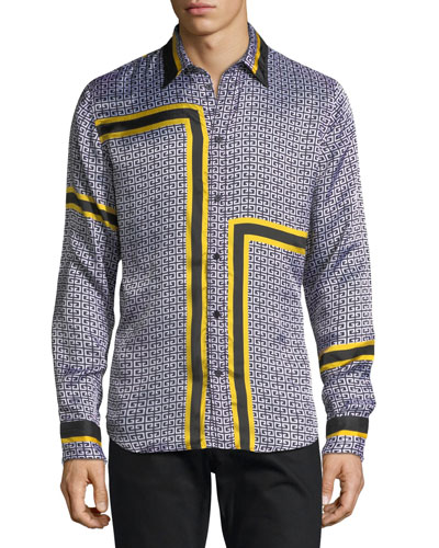 Graphic Print Viscose Sport Shirt