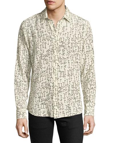 Paris Logo Script-Print Silk Shirt