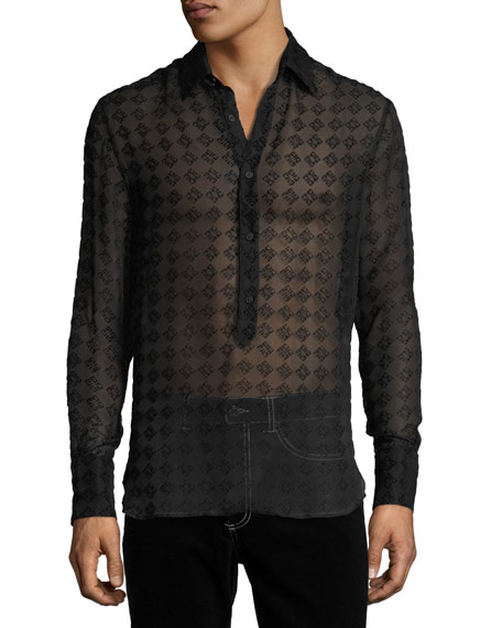 Givenchy Geometric Semisheer Silk-Blend Shirt
