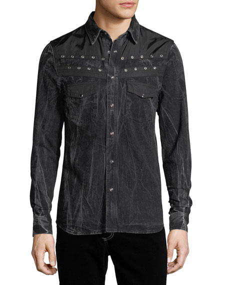 Distressed Snap-Front Pocket Shirt
