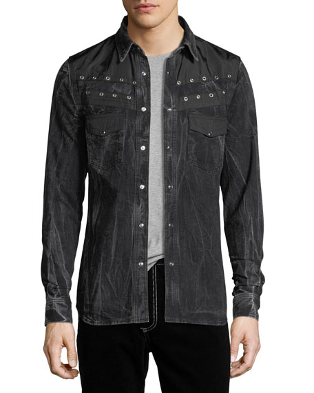Givenchy Distressed Snap-Front Pocket Shirt