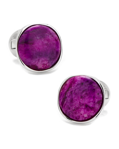 Sugilite Nebula Sterling Silver Cuff Links