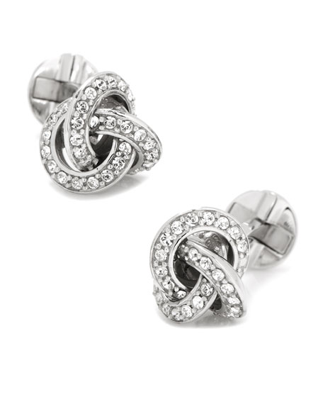 Crystal-Inset Love Know Cuff Links