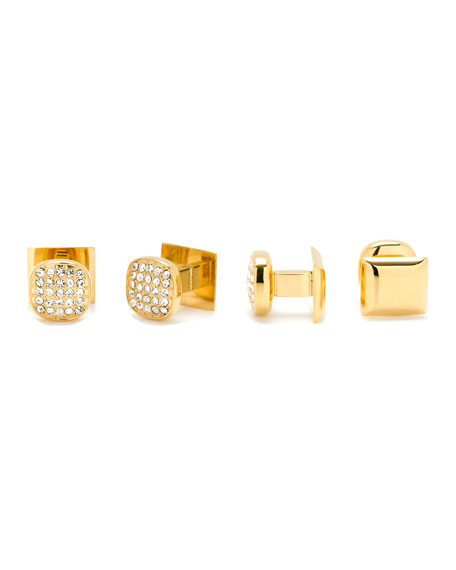 Cufflinks Inc. White Preciosa Pave Cuff Links & Stud Set