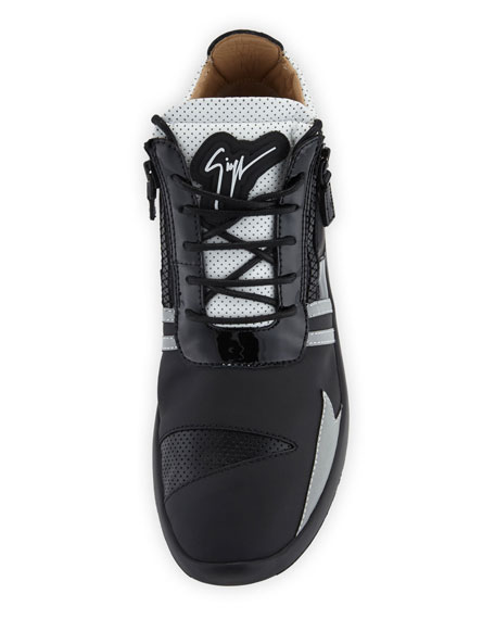Men's Runner Mid-Top Perforated-Leather Sneakers