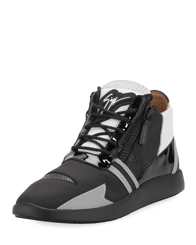 Giuseppe Men's Zanotti Men's Giuseppe Runner Mid-Top Perforated-Leather Sneakers b59c38