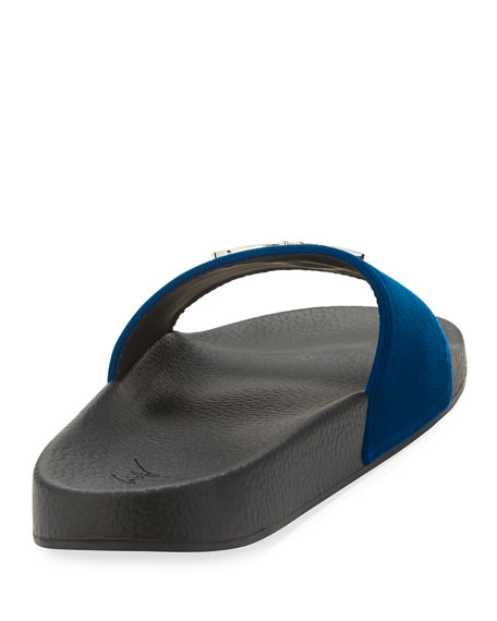 Men's Logo Velvet Slide Sandal