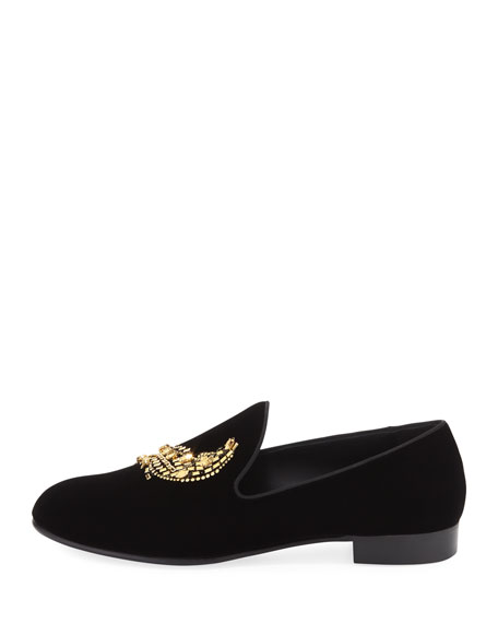 Men's Beaded Wing Velvet Loafer