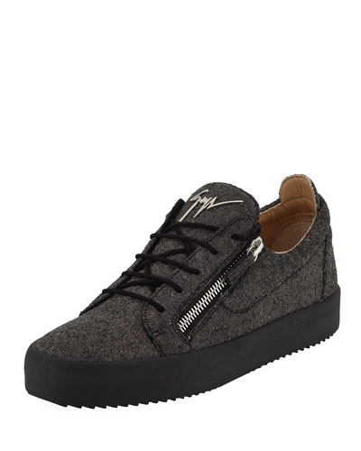 Men's Glitter Double-Zip Low-Top Sneakers