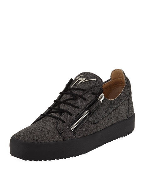 Giuseppe Zanotti Men's Glitter Double-Zip Low-Top Sneakers