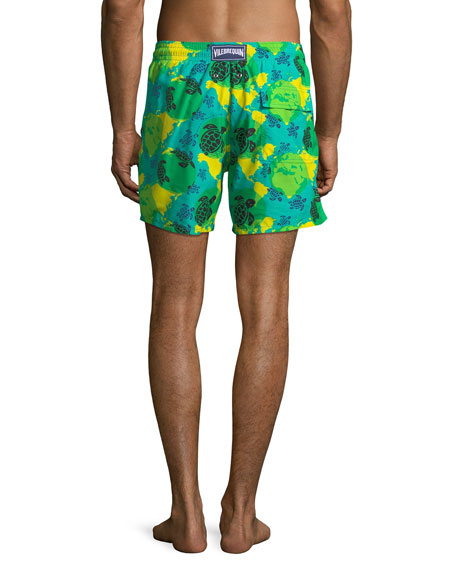 Moorea World Map & Turtles Swim Trunks