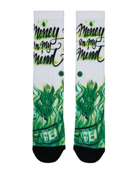 Men's Airbrushed Money Graphic Socks