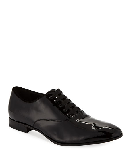 Salvatore Ferragamo Men's Belshaw Patent Lace-Up Balmoral Dress