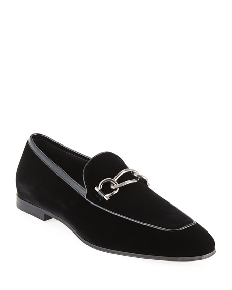 Men's Boy 2 Chain Detail Velvet Loafer