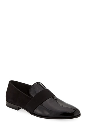 Salvatore Ferragamo Men's Bryden Patent Leather & Suede Slip-On Dress Loafer Shoe