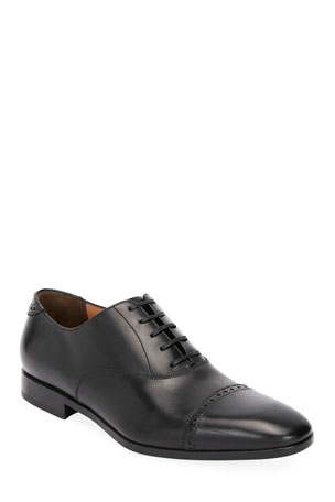 Salvatore Ferragamo Men's Boston Leather Lace-Up Dress Oxford, Black