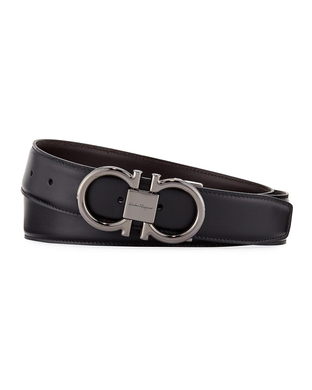 352d65ee2cf23 Salvatore Ferragamo Men s Double-Gancini Reversible Leather Belt ...