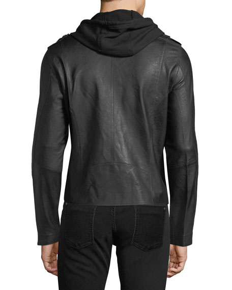 Hooded Zip-Front Moto Jacket, Black