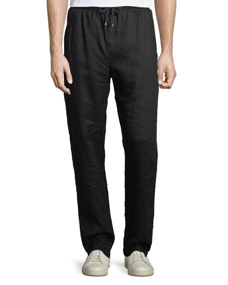 Linen Straight-Leg Jogging Pants