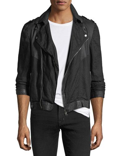 Leather-Trim Linen Moto Jacket
