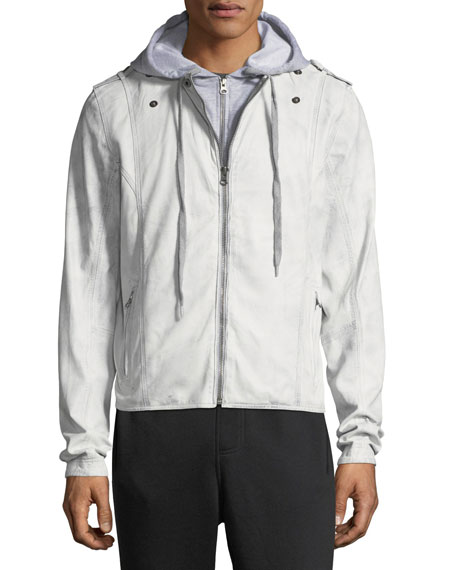 Contrast-Hooded Zip-Front Moto Jacket, Light Gray