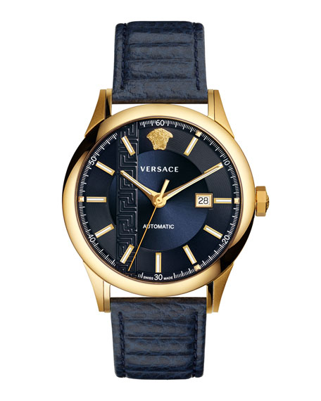 VERSACE 44Mm Aiakos Men'S Automatic Watch With Blue Leather Strap, Blue/ Gold