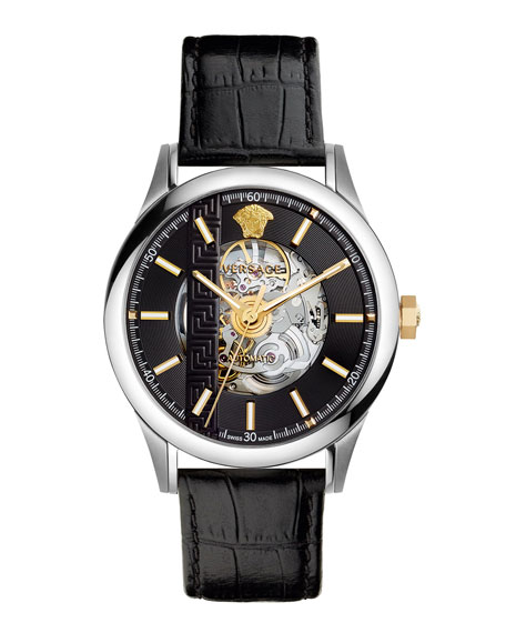 44mm Aiakos Automatic Skeleton Watch with Black Leather Strap