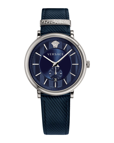 42mm Manifesto Watch with Blue Leather Strap