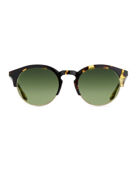 Men's Griffin Half-Rim Round Sunglasses