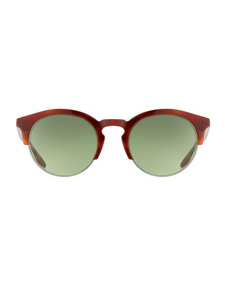 Men's Griffin Half-Rim Round Sunglasses