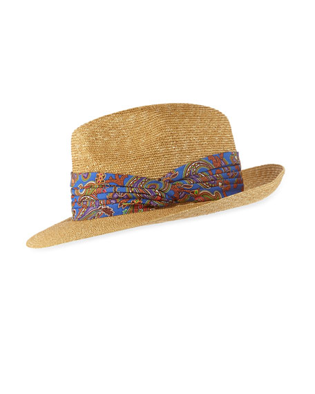 Etro Straw Fedora Hat with Paisley Ribbon Trim
