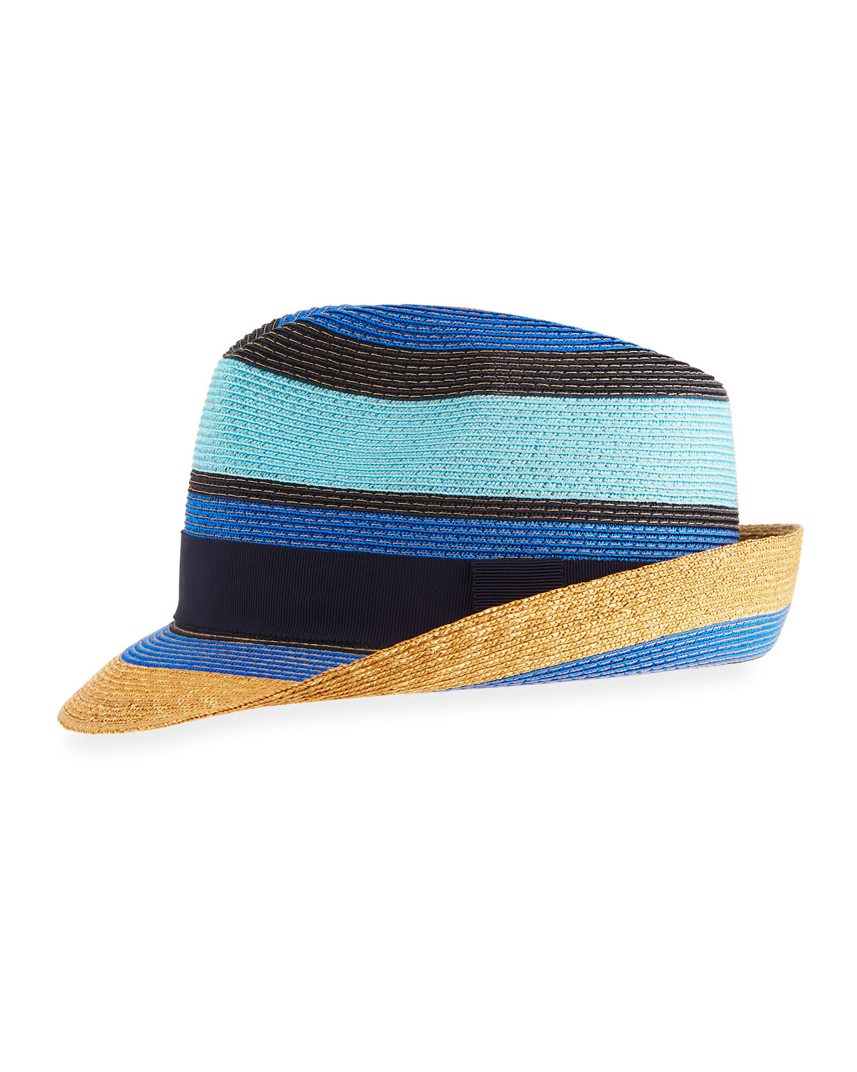 Etro Tricolor Straw Fedora Hat  26ff76d64634