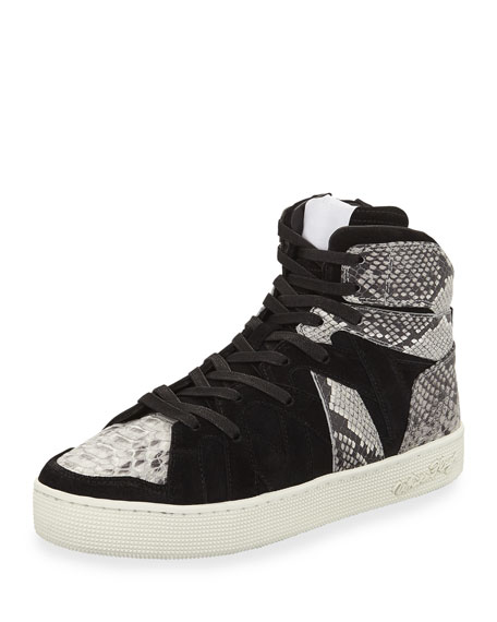 Men's Henri High-Top Sneakers with Python-Print Trim