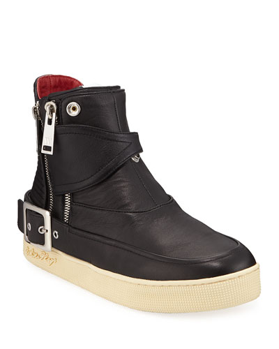 Men's Philip Zip-Buckle High-Top Leather Sneakers