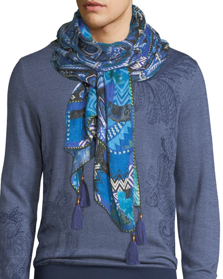 Etro Sciarpa Shaal Nur Paisley Scarf with Tassels