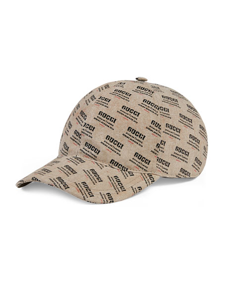 Gucci Logo Invite-Print Canvas Baseball Cap