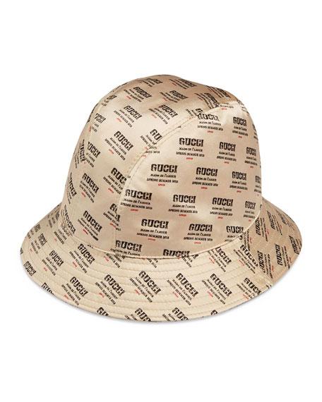 Gucci Donna Logo-Print Silk Bucket Hat